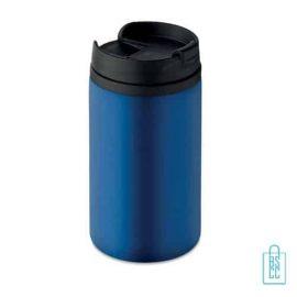 Reisbeker compact 250ml bedrukt blauw
