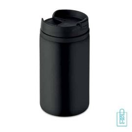 Reisbeker compact 250ml bedrukt zwart