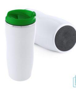 Reisbeker goedkoop plastic 400ml bedrukt groen