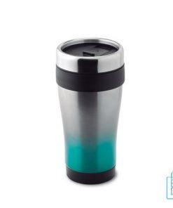 Thermosbeker RVS kunststof 455ml bedrukt aqua groen blauw
