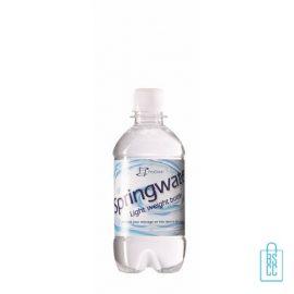 Waterflesje bedrukken 330 ml platte dop transparant wit