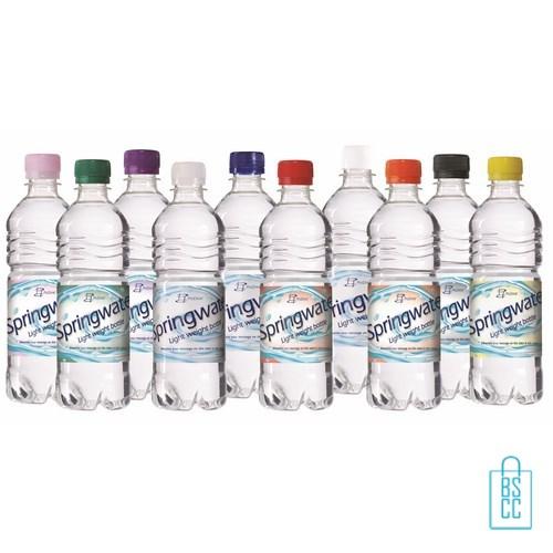 Waterflessen bedrukken geribbeld 500 ml platte dop bijelkaar