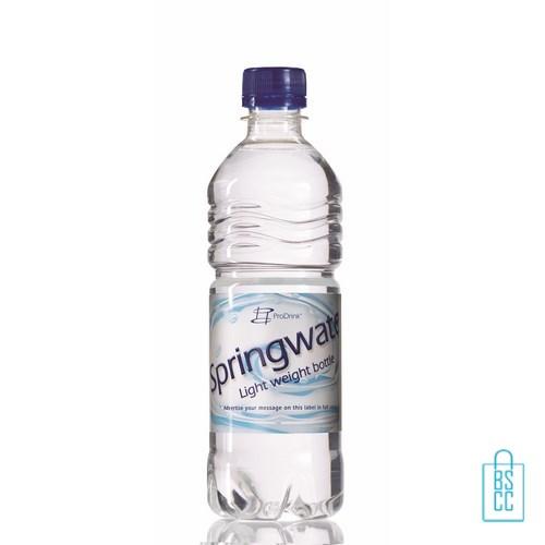 Waterflessen bedrukken geribbeld 500 ml platte dop blauw