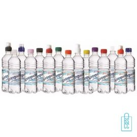 Waterflessen bedrukken geribbeld 500 ml platte dop doorelkaar