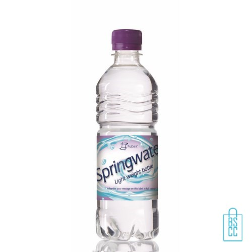Waterflessen bedrukken geribbeld 500 ml platte dop paars