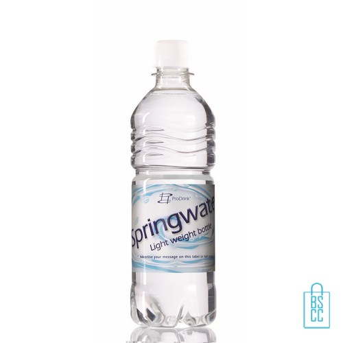 Waterflessen bedrukken geribbeld 500 ml platte dop wit