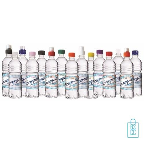 Waterflessen bedrukken geribbeld 500 ml sportdop bijelkaar