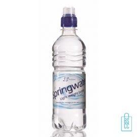 Waterflessen bedrukken geribbeld 500 ml sportdop blauw