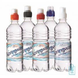 Waterflessen bedrukken geribbeld 500 ml sportdop kleuren