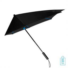 StorMaxi Impliva goedkoop bedrukken Special Edition blauw stormparaplu met naam