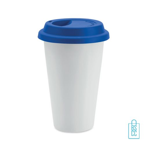 Keramische reisbeker bedrukt blauw