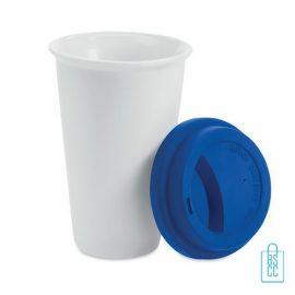 Keramische reisbeker bedrukt blauwe silliconen dop