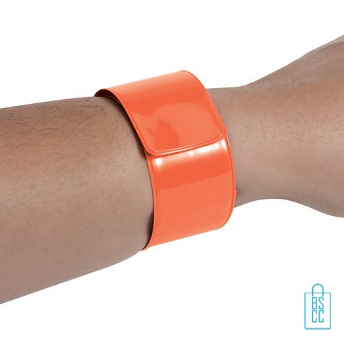 Neon reflecterende armband bedrukt oranje