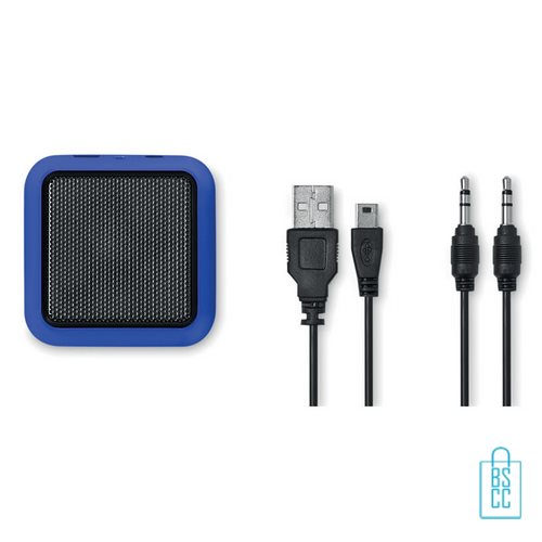 Vierkante bluetooth speaker goedkoop bedrukken blauw