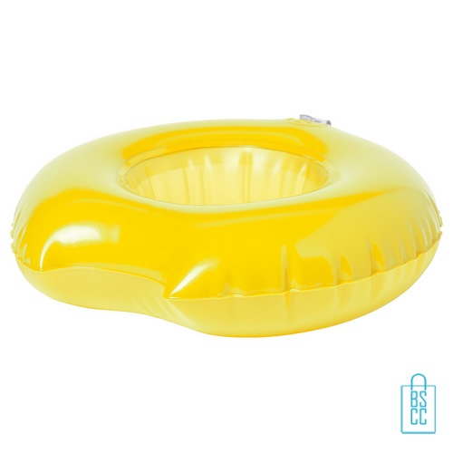 Opblaasbare bekerhouder zwemband bedrukken geel