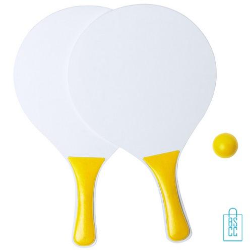 Strand tennisset goedkoop bedrukken geel