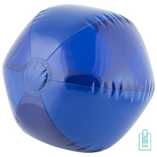 Strandbal transparant ø 26 cm bedrukken blauw