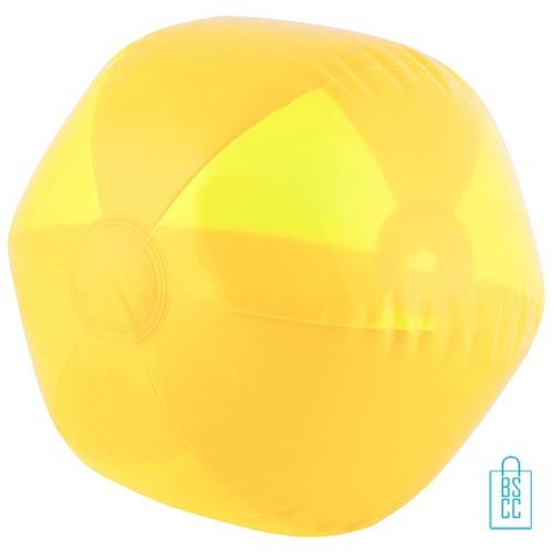 Strandbal transparant ø 26 cm bedrukken geel