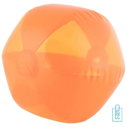 Strandbal transparant ø 26 cm bedrukken oranje