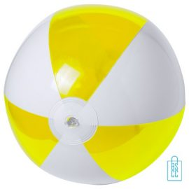 Strandbal transparant gekleurd ø 28 cm bedrukken geel wit