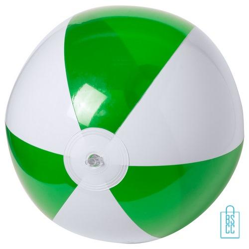 Strandbal transparant gekleurd ø 28 cm bedrukken groen wit