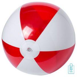 Strandbal transparant gekleurd ø 28 cm bedrukken rood wit