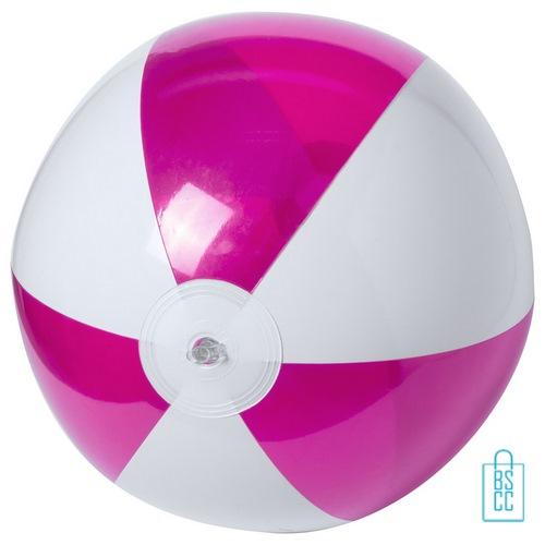 Strandbal transparant gekleurd ø 28 cm bedrukken roze wit