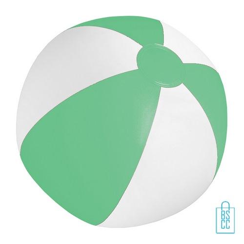 Strandbal voordelig ø 28 cm bedrukken groen wit