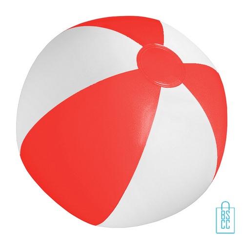 Strandbal voordelig ø 28 cm bedrukken rood wit