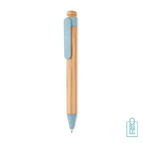 Bamboe pen bedrukken blauw duurzaam