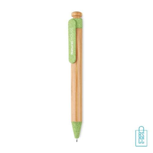 Bamboe pen bedrukken groen