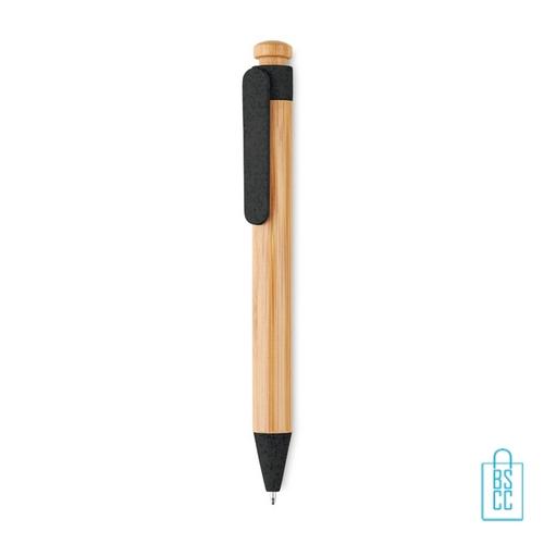 Bamboe pen bedrukt duurzaam zwart
