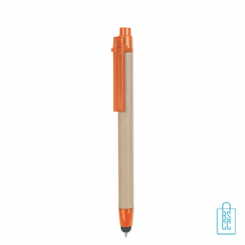 Recycle touch pen bedrukken milieuvriendelijk oranje