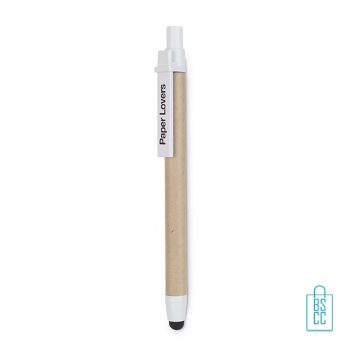 Recycle touch pen bedrukken witte