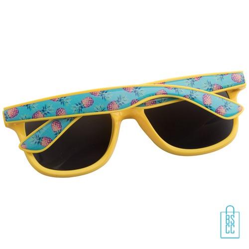 Zonnebril doming goedkoop bedrukt geel