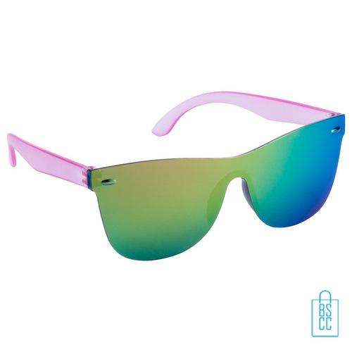 Zonnebril frameloos hip glanzend bedrukken roze