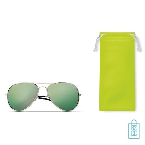 Zonnebril zakje inclusief bedrukken aviator groen