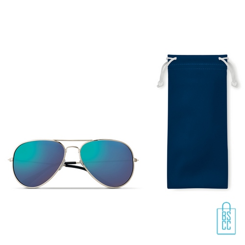 Zonnebril zakje inclusief bedrukken blauwe aviator
