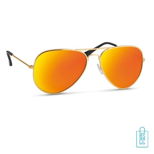 Zonnebril zakje inclusief bedrukken geel oranje