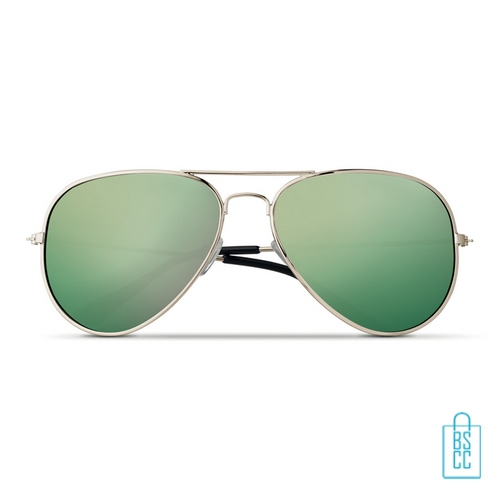 Zonnebril zakje inclusief bedrukken groene aviator