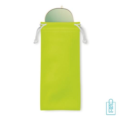 Zonnebril zakje inclusief bedrukken neon geel