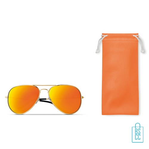 Zonnebril zakje inclusief bedrukken oranje geel