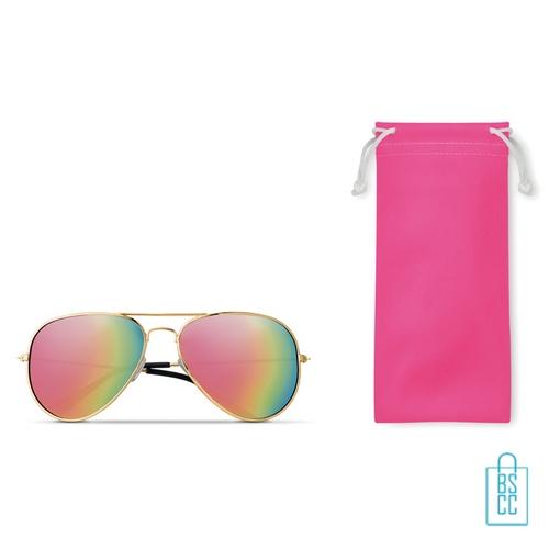 Zonnebril zakje inclusief bedrukken roze aviator