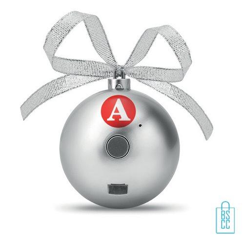 Kerstbal bluetooth goedkoop bedrukken zilveren, kerst relatiegeschenken