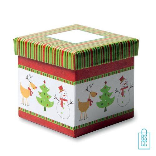 Kerstbal geschenk kerstboom groen bedrukken geschenkdoos, kerst relatiegeschenken