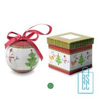 Kerstbal geschenk kerstboom groen bedrukken