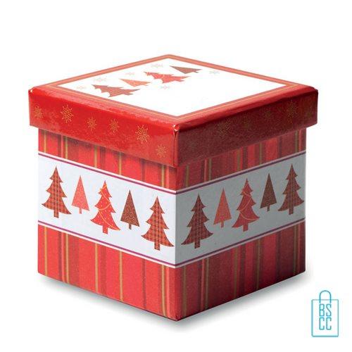 Kerstbal geschenk kerstboom rood bedrukken doos, kerst relatiegeschenken