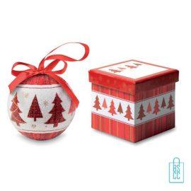Kerstbal geschenk kerstboom rood bedrukt, kerst relatiegeschenken