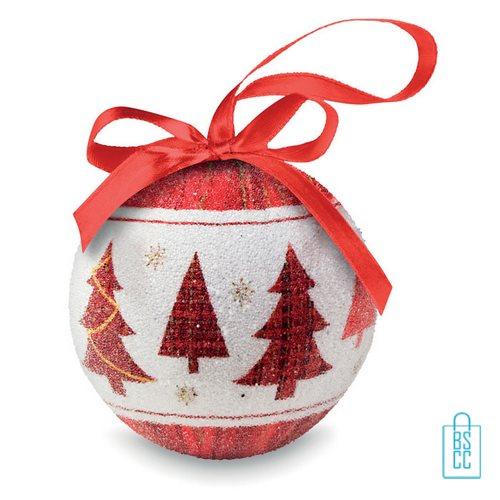 Kerstbal geschenk kerstboom rood bedrukt met logo, kerst relatiegeschenken