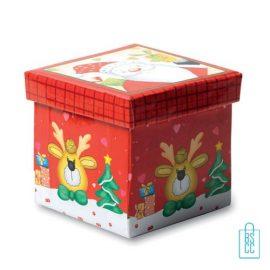 Kerstbal geschenk rendier rood bedrukken geschenkdoos, kerst relatiegeschenken